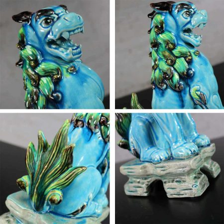 Vintage Mid-Century Pair Japanese Komainu Lion Dogs Ceramic Turquoise Green Glaze