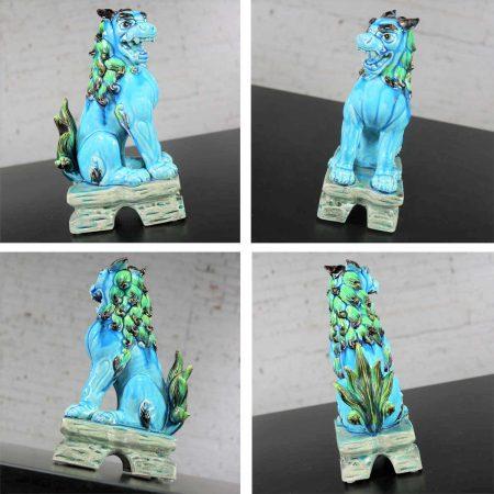 Vintage Mid-Century Pair Japanese Komainu Lion Dogs Ceramic Turquoise Green Glaze