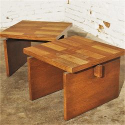 Pair Vintage Lane Chunky Brutalist Oak End Tables