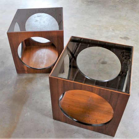 Vintage Pair Mid-Century Modern Lane Cube Tables with Circle Cut-Outs and Smoke Glass Tops