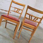 Vintage Mid Century Light Mahogany Dining Chairs set of 8