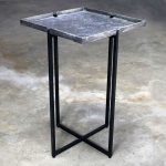 Michael Aram Square Side Table Black Iron and Silvered Bronze with Removable Top