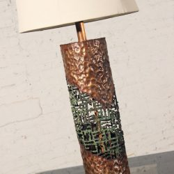 Mid-Century Marcello Fantoni for Raymor Torch-Cut Copper Brutalist Table Lamp