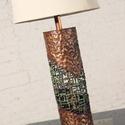 Mid-Century Marcello Fantoni for Raymor Torch-Cut Copper Brutalist Table Lamp