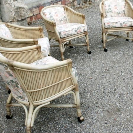 Vintage McGuire Rattan Rolling Game Chairs-Set of Four