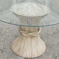 Vintage McGuire Round Rattan Dining Table Sheaf-of-Wheat Style with Glass Top