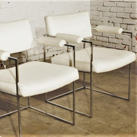 Pair Vintage Milo Baughman 1188 Dining Chairs in White