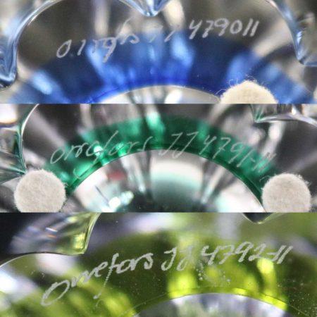 Set of 3 Vintage Orrefors Mayflower Bowls 1 Blue 1 Yellow 1 Green by Jan Johansson