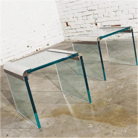 Vintage Pair Chrome and Glass Waterfall Side Tables by The Pace Collection