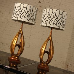 Vintage Pair Mid Century Modern Faux Gold Leafed Hollywood Regency Lamps
