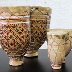 Vintage Set of 2 Moroccan Double Ceramic Bongo-Style Tbilat Drums