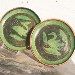 Pair Old Patamban Pottery Plates from Michoacan, Mexico