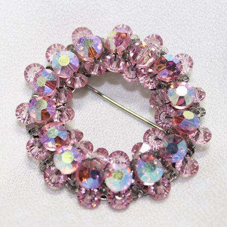 Hobé Brooch w/ Pink  Aurora Borealis Crystals