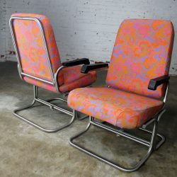 Vintage Mid-Century Modern Pullman Train Car Folding Lounge Chairs a Pair
