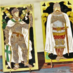 Medieval Knights Figural Art Tiles Ramos Rejano Sevilla Spain Pair