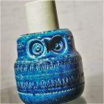 Rosenthal Netter Bitossi Pottery Mid Century Rimini Blue Owl Pillar Candle Holder by Raymor
