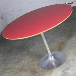 Vintage Saarinen Style Polished Aluminum Tulip Base Dining Table w/Red Laminate Top