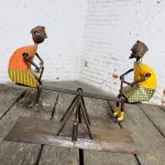 Mid Century Sculpture of Children on See Saw by Manuel Felguerez Metal and Paper Mache