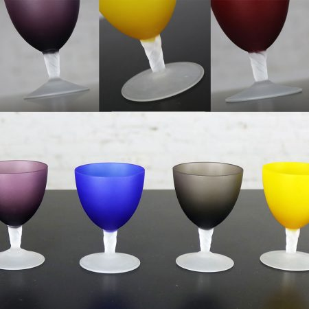 Set of 5 Small Multi-Colored Frosted Glass Wine Coupes or Cordial Glasses