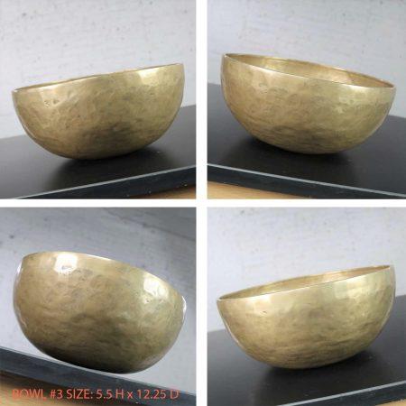 Vintage Set of 4 Bronze Nesting Singing Bowls or Standing Bowls with Mallet