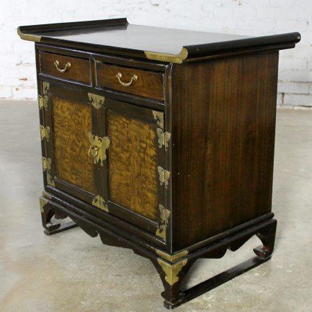Small Korean Design Asian Accent Scholar's Cabinet Vintage with Brass Butterflies