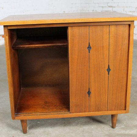 Walnut Mid Century Modern Record Storage Cabinet