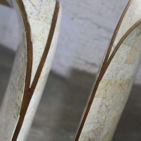 Maitland Smith Hollywood Regency Tessellated Stone Veneer U Shaped Console Sofa Table