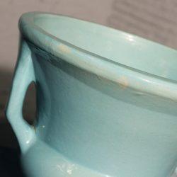 Monumental Vintage Sea Green Double Handled Urn Style Pier Planter Floor Vase