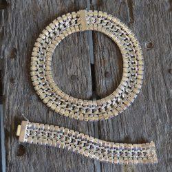 Vintage Silvertone Chunky Chain Choker and Bracelet