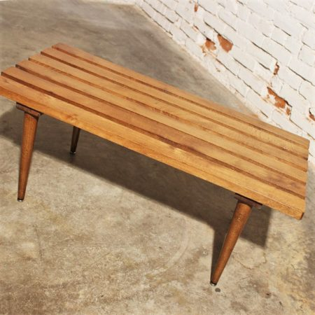 Small Vintage Mid Century Modern Yugoslavian Slatted Bench End Table
