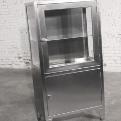 Vintage Stainless Steel Industrial Medical Display Cabinet Lighted
