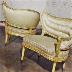 Pair Vintage Hollywood Regency One-Armed Chairs