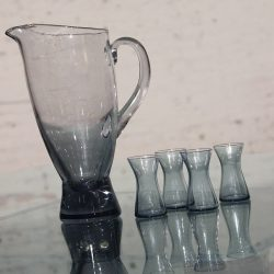 1960s Scandinavian Glass Pitcher & Cordials Smoke Grey
