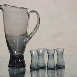 1960s Scandinavian Glass Pitcher & Cordials Smoke Grey