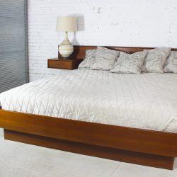 Vintage Scandinavian Modern Teak King Platform Bed with Attached Night Stands