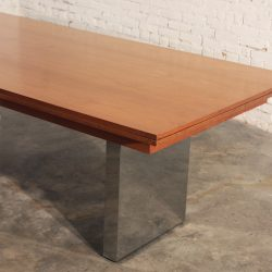 Vintage Mid Century Modern Teak & Stainless Steel Extending Dining Table