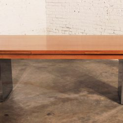 Vintage Mid Century Modern Teak & Stainless Steel Extending Dining Table