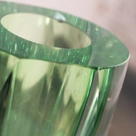 Vintage MCM Murano Sommerso Green Faceted Vase in the style of Flavio Poli for Seguso