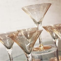 Dorothy C. Thorpe Gold Fleck Martini Cocktail Glasses Set of 6 Mid Century Modern