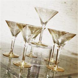 Dorothy C. Thorpe Gold Fleck Martini Cocktail Glasses Set of 6 Mid Century Modern