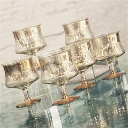 Dorothy C. Thorpe Gold Fleck Shrimp Cocktail Glasses Set of 6 w/ Inserts Mid Century Modern