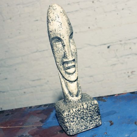 Vintage Mid Century Plaster Moai Tiki Head Sculpture