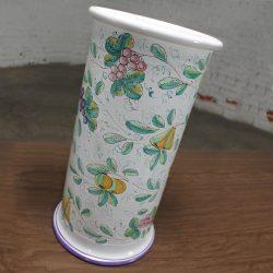 Vintage Italian Castelli Pottery Umbrella Stand Signed L. Pardi
