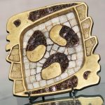 Vintage 1950s Salvador Teran Brass and Glass Tesserae Mosaic Modernist Abstract Tray