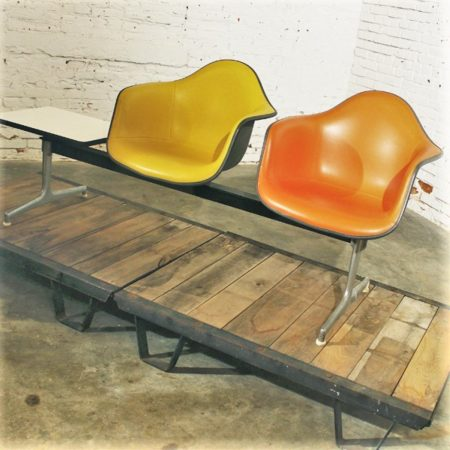 Vintage Mid Century Modern Eames ETS Shell Tandem Seating Airport Bench by Herman Miller