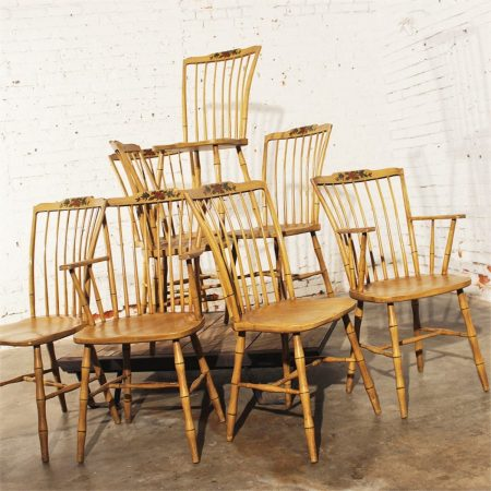 Set of 8 Antique Painted Step Down Windsor Chairs with Hand Painted Chinoiserie Design