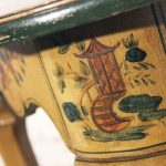 Pair Antique Chinoiserie Hand Painted Demilune Console Tables