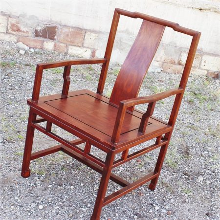 Vintage Asian Solid Rosewood Chair Ming Style with Yoke-back