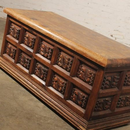 Vintage Rustic Handcarved Pine Frame-and-Panel Chest