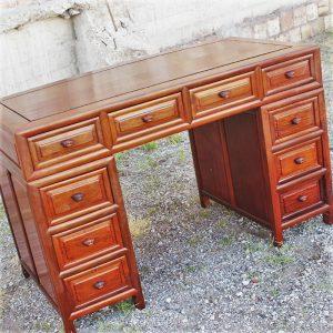 Vintage Asian Solid Rosewood Double Pedestal Desk